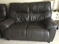 Lovely brown real leather 2 seater sofa and recliner armchair