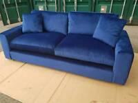 NEW Designer Blue Velvet 4 Seater Sofa DELIVERY AVAILABLE