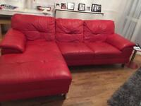 Corner settee red leather (right hand)