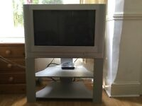 SANYO TV, TELEVISION STAND AND FREEVIEW BOX. FULL WORKING ORDER