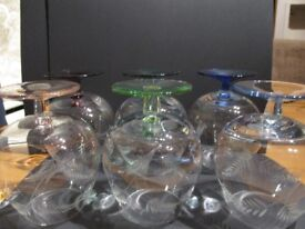 Set of 6 Etched Brandy Goblets with Coloured Stems