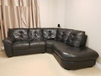Genuine Leather Left Hand Corner Sofa - Black *Excellent Condition* Paid £1300 When New