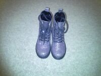 Girls F & F Black and Glitter silver Dr Martin style boot size 9 Ex. Condition