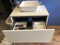 Designer Bagno Design Basin & Vanity Unit with Marble top and Matt White Corian Basin