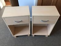 2x Matching Bedside Cabinet Table with Draw, Ash effect finish