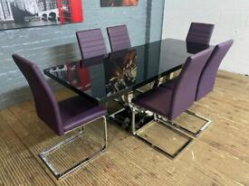 STUNNING HARVEYS BLACK GLASS DINING TABLE WITH 6 CHAIRS