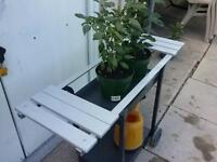 OUTDOOR STAND, FOR, PLANTS, OR BBQ, ON WHEELS