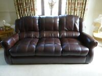 Brown Leather 3 piece suite + matching footstool