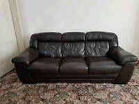 3+1 brown leather sofa and recliner