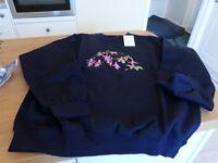 Embriodered ladies sweatshirt, brand new