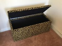 Ottoman Blanket Chest (seat and storage) in Leopard Moquette ono £125.