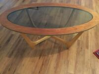 Mid century glass topped coffee table