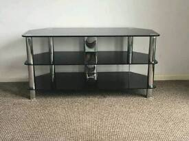Large black and chrome tv/ entertainment stand