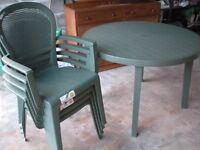 Garden Furniture Full Set - Grosfillex Table, Chairs, Cushions, Parasol - Brand New