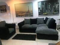 Ex Display Black Fabric and Grey Chord Corner Sofa+Arm Chair