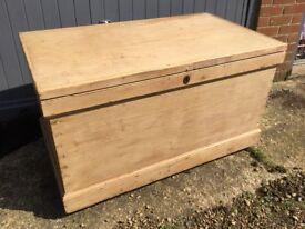 Large pine antique blanket box