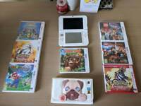 Nintendo 3DS XL white, 9 games and case