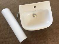 White ceramic bathroom basin & pedastool