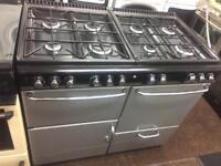 Black & silver stoves 100cm eight burners dual fuel cooker grill & double fan ovens with guarantee