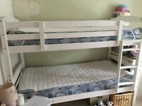 White 3ft Bunk Beds with Mattresses and Bedding Sets