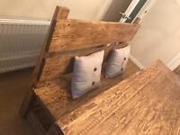 Bespoke handmade solid wood table and chairs and bench