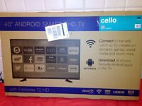 """Cello C40ANSMT 40"""" Smart Android LED TV with Wi-Fi and Freeview T2 HD NEW BOxED"""
