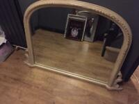 A GREAT LOOKING LARGE ANITQUE/SHABBY CHIC STYLE OVER MANTLE MIRROR IN NICE PRE-LOVED CONDITION