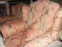 Fabric 3 seater + 2 chairs + pouffe orange pink gold pattern delivery available £35