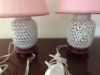 2 MATCHING BEDSIDE LIGHTS, WHITE CERAMIC BASE WITH LIGHT PINK SHADES, 39 CM HIGH