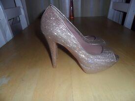Next gold sparkle high heels size 8