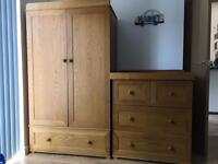 East Coast Langham Oak Nursery Furniture set of Sleigh Cotbed wardrobe and changing station drawers