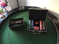 Poker Table, Chrome cup holders with poker chip sets
