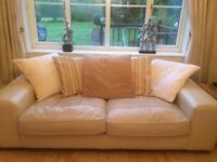 2 Real Leather Large Cream 3 Seater Sofas with loose back cushions