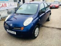 NISSAN MICRA 1.0 E PETROL MANUAL 5 DOORS HATCHBACK BLUE 2003 AIR CON DRIVES NICE