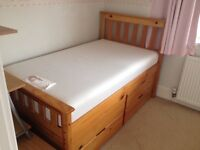 Pine Junior Bed with 4 Drawers