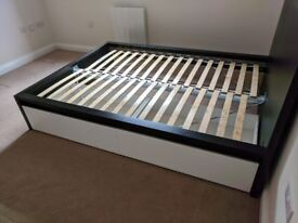 IKEA MALM Bed Frame - double bed with 2 pull out drawers, black and white