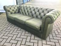 Stunning green leather chesterfield sofa