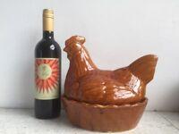 Vintage ceramic 'hen on nest' egg store.