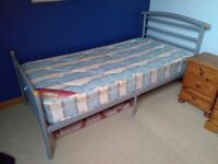 Modern single bed and mattress