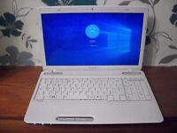 for sale white L755 toshiba laptop on windows 10