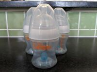Munchkin Latch Anti-Colic 4oz / 120ml bottles X3 with Stage 1 **nearly new**