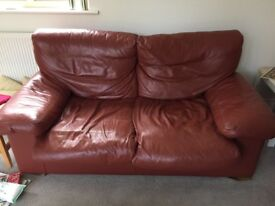 A pair of Leather Sofas - Brown