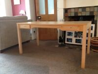"""Desk for sale; beech, W 59"""" D 29.5"""" H 29"""", good condition, back leg of desk cut to fit skirting"""