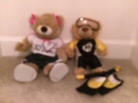 Build a bear 2 bears, 6 outfits, 2 pairs of shoes and accessories