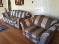 Modern Gold & Beige Three / Four Seat Sofa & Cuddle Chair with Removable Covers.