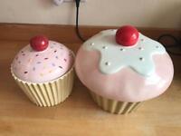 Two Cupcake Cookie Jars