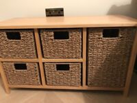 Storage bench with 5 drawers