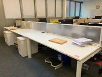 Professional office workstation positions desk table white divider 360cm length