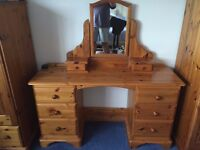 Solid Antique Pine Dressing Table with Mirror and Stool - excellent quality