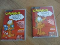 2 BRAND NEW Computer CD-ROMs - READING WRITING & GRAMMAR SKILLS with GARFIELD Age 5-6 REDUCED AGAIN